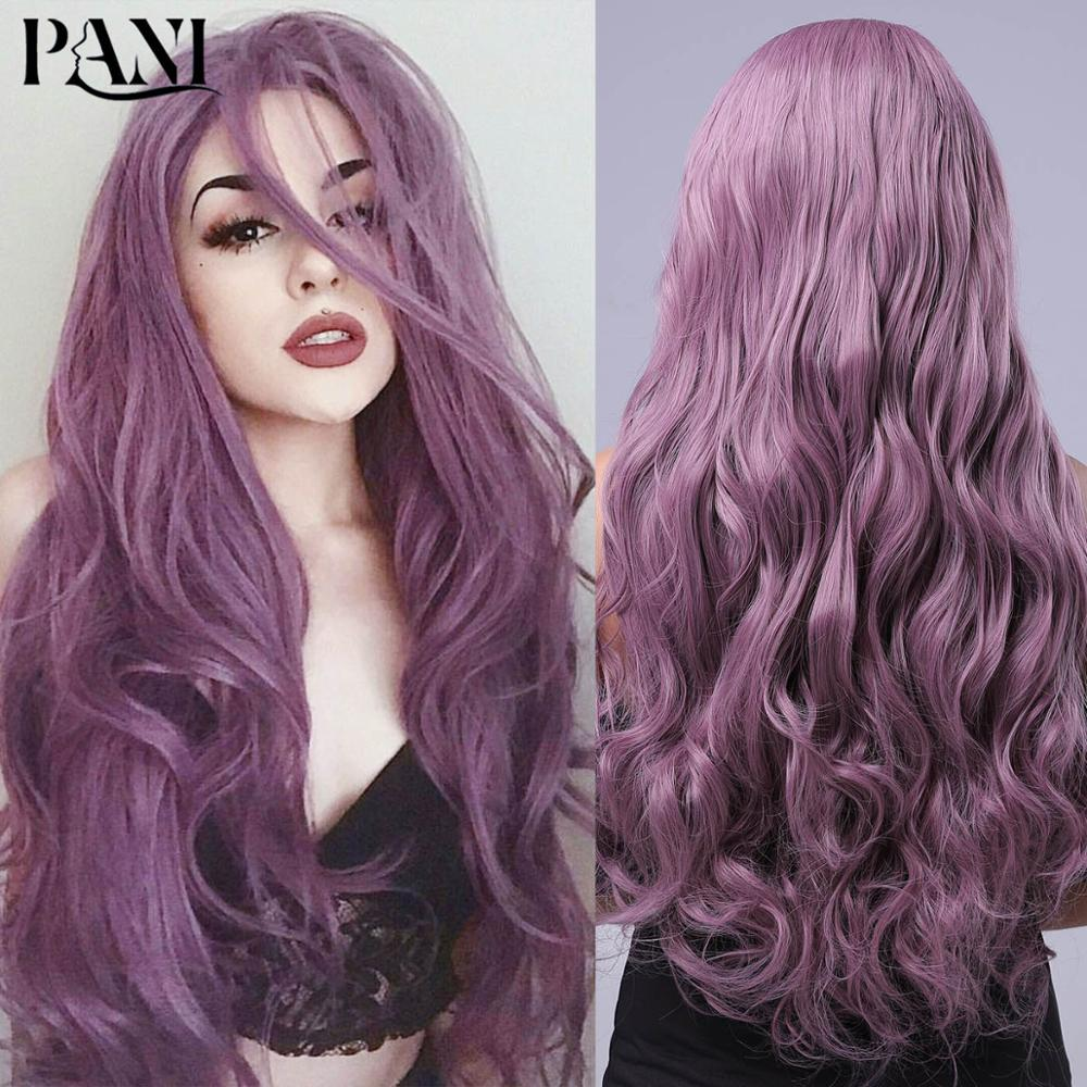 PANI Fashion Women's Long Deep Wave Wigs Synthetic Wigs For Women Fantazi Purple Wig Cosplay Wigs Lolita Wig Hair Extension