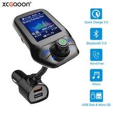 Bluetooth 5.0 Bộ Phát FM AUX Xe Hơi USB MP3 Người Chơi Tay Cầm Không Dây Xe Hơi Với QC3.0 Sạc Nhanh 3 Cổng USB sạc Xe Hơi