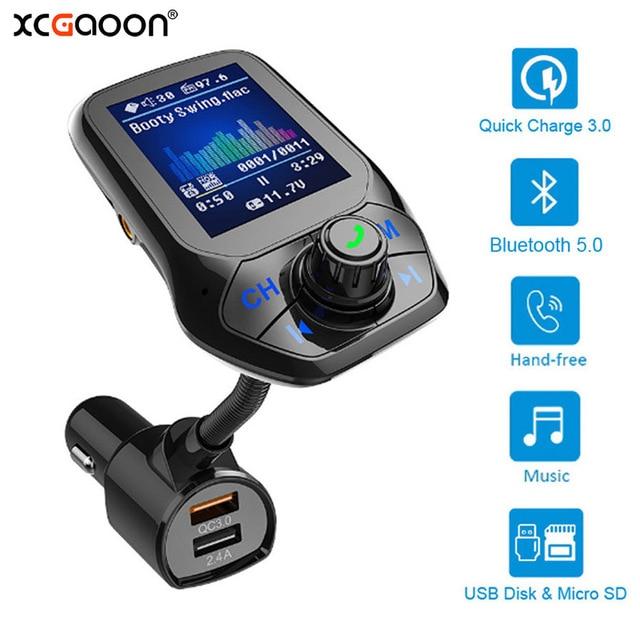 Bluetooth 5.0 FM משדר רכב AUX USB MP3 נגן אלחוטי דיבורית לרכב עם QC3.0 טעינה מהירה 3 יציאות USB רכב מטען