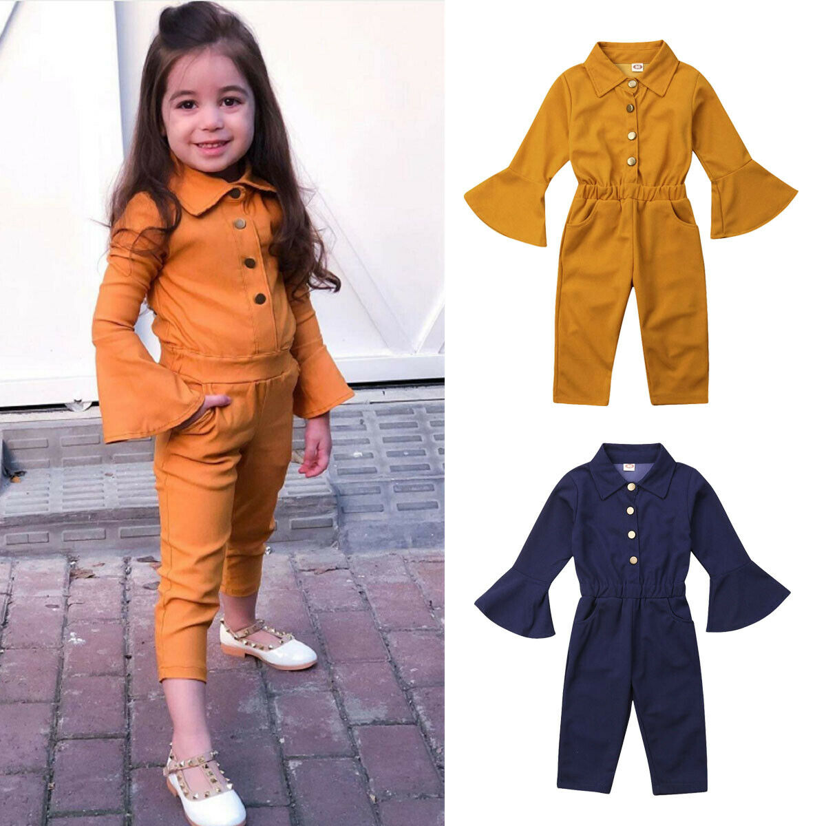 Pudcoco Toddler Kids Baby Girls Jumsuits Long Bell Sleeve   Romper   Pants Sloid Autumn Outfit For Kids Baby 2-7Ys Clothes