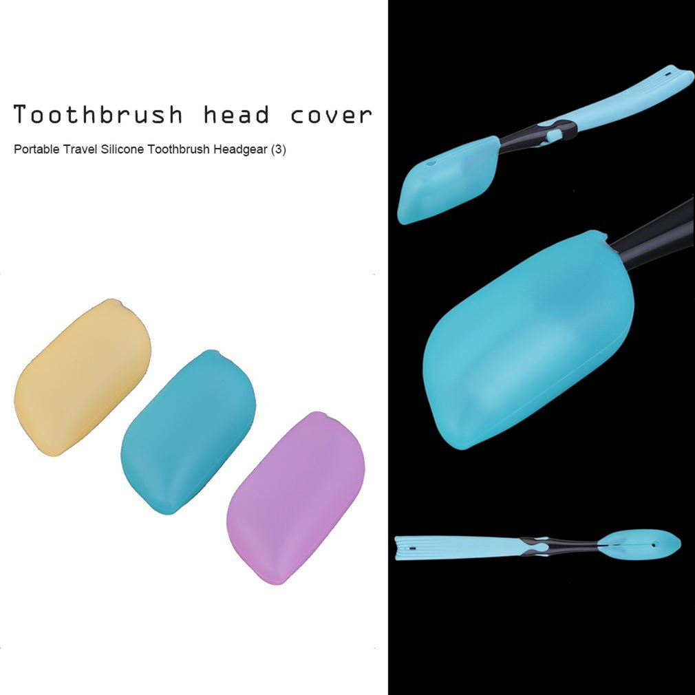3 pcs Silicon Soft Travel Camping Toothbrush Head Case Cover Protective Caps Travel Easy To Use Best Selling image