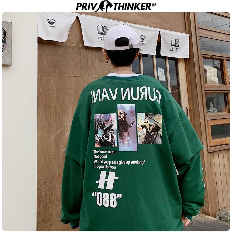 Privathinker Mens High Street Autumn Spring Loose Hoodies Men 2020 Korean Warm O-Neck Pullovers Tops Male 5XL Swetshirts Fashion