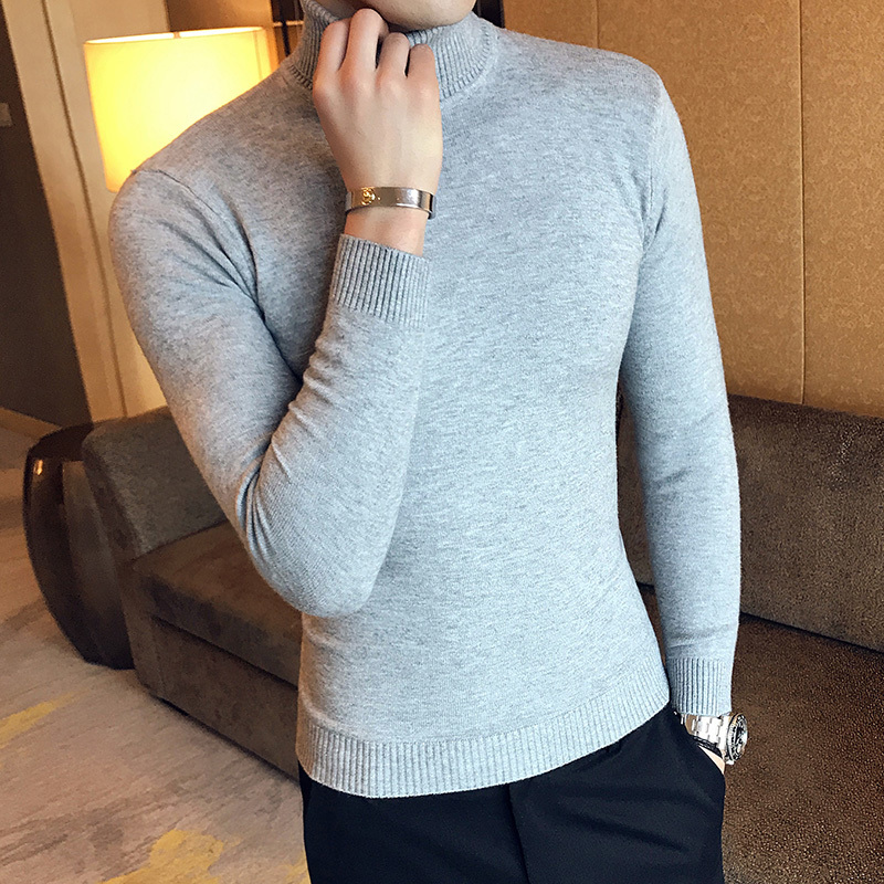 2019 Winter Men's In Warm Cashmere Woolen Pullover Casual Sweater Brand Sleeve Single Man Knit Leisure Solid Color Knitting
