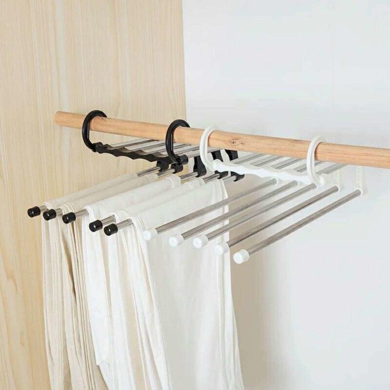 Бытовые принадлежности для экономии места 5-в-1 Портативный многофункциональная Нержавеющая сталь брюки вешалка для одежды стеллаж для сушки Прямая