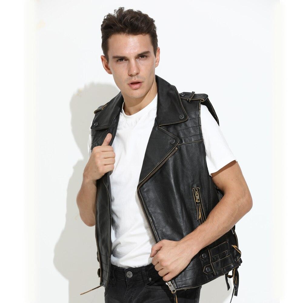 2020 винтажный черный мужской облегающий Байкерский кожаный жилет большого размера 3XL из натуральной воловьей кожи на осень в американском с