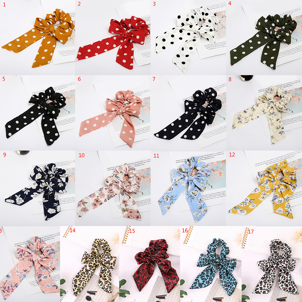 Hot Woman's Hair Bands Hair Ties Bow Girl Scrunchie Cute Elastic Ribbon Rope Leopard Dot Print Soft Solid Color Hair Accessories