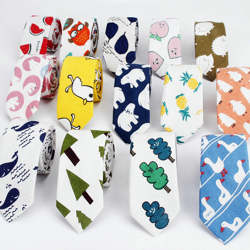 Linen Cotton Cartoon Tie For Men Women Skinny Neck Tie For Wedding Casual Leaf Print Neckties Classic Suits Funny Slim Neck Ties