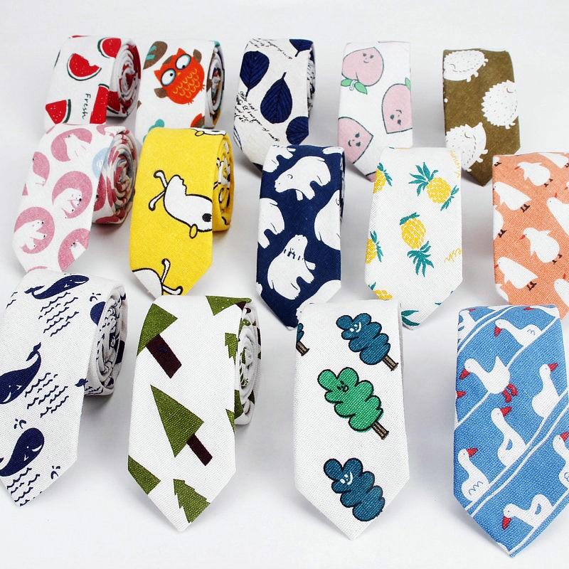 Linen Cotton Cartoon Tie For Men Women Skinny Neck Tie For Wedding Casual Leaf Print Neckties Classic Suits Funny Slim Neck Ties