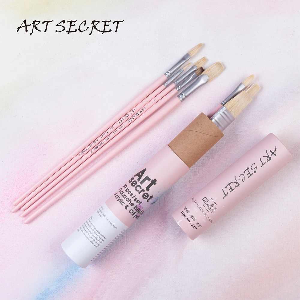 2217 10 unids/set cepillo de pintura con mango de madera para pelo de Cerdas de cerdo de alta calidad pinceles de Arte Artístico para acrílico y dibujo al óleo