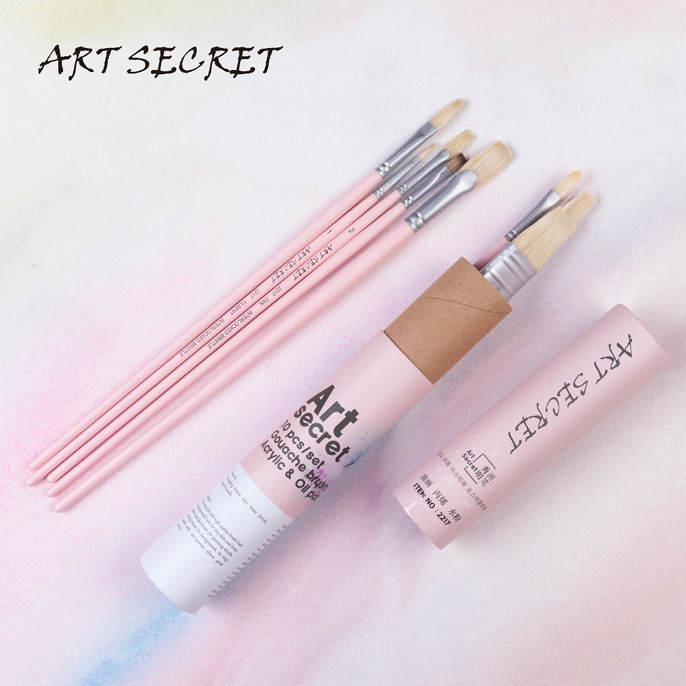 2217 10PCS/set High Quality Hog Bristle Hair Wooden Handle Paint Brushes Painting Artistic Art Brush For Acrylic And Oil Drawing