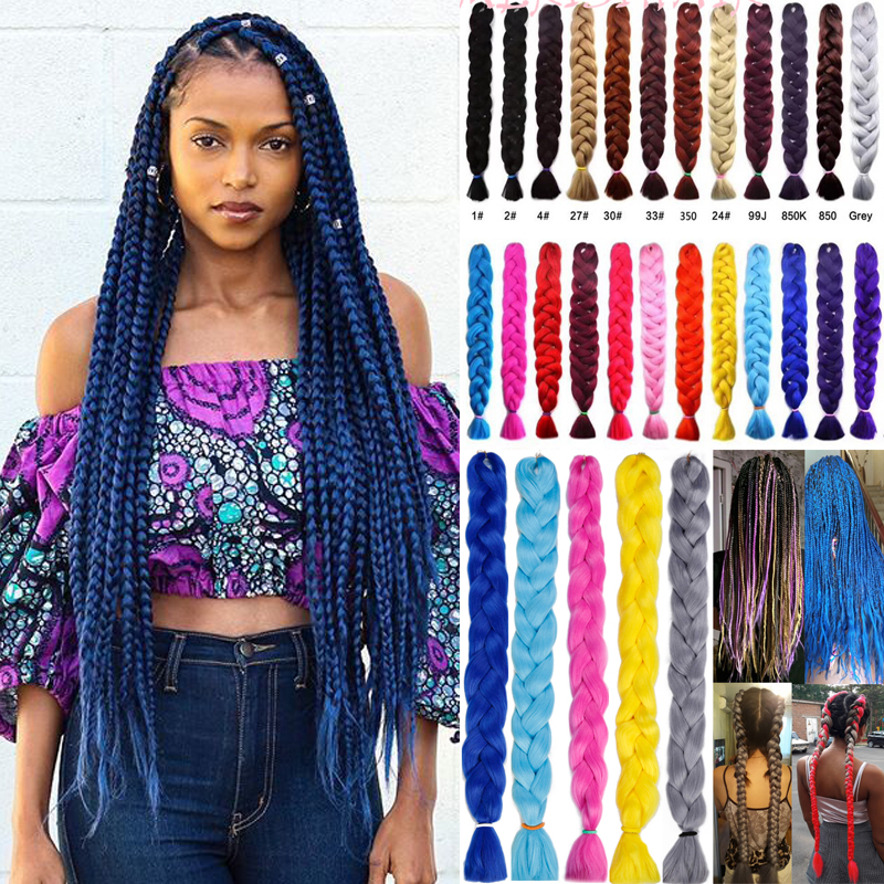 165g/82inch/Piece Braiding Hair One Piece 82 Inch Synthetic Heat Fiber Braid Pure Color Crochet Jumbo Braid Kanekalon