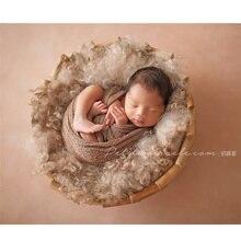 Studio Photography Props Retro Solid Wood Basket Rattan Baby Posing Bois Sofa Bebes Newborn Fotografia