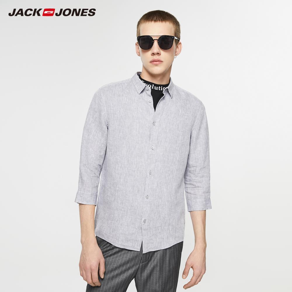 JackJones Men's Spring & Summer 100% Linen Casual 3/4 Sleeves Shirt Style| 219131509