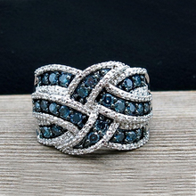 Fashion Women Ring Vintage Blue Zircon Stone For Accessories Jewelry Engagement Female Casual