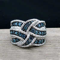 Fashion Women Ring Vintage Blue Zircon Stone Ring For Women Accessories Jewelry Engagement Female Casual Ring