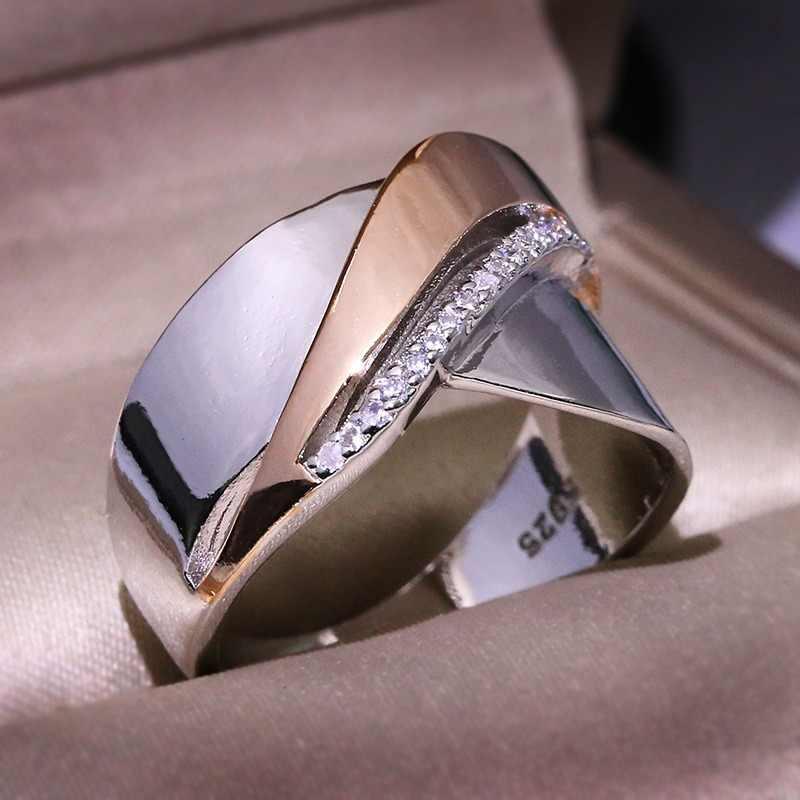 ผู้หญิง Bowknot แหวน Punk Cubic Zirconia Rose Gold Silver สีข้ามนิ้วมือแหวน PARTY Daily HIPHOP ยุ้ยแหวน Anillos