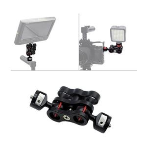 Image 5 - Scharnierende Magic Arm met Dual Bal Head Hot Shoe Mount 1/4 Statief Rig voor Camera Monitor LED Video Flash licht Camera Kooi