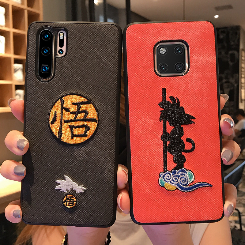 Japan Cartoon Dragon Ball Son Goku Embroidery Fabric Phone Case For Huawei Mate 30 P30 P20 Pro Lite