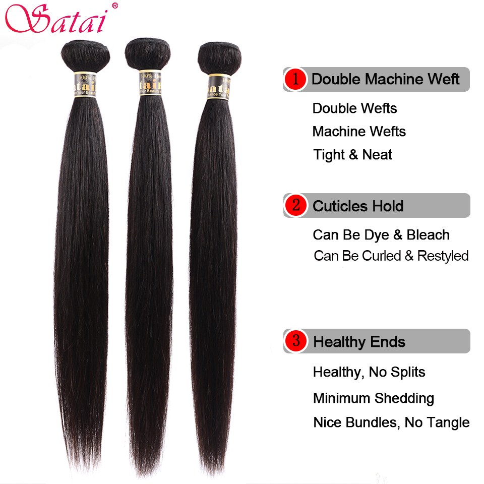 Image 4 - Satai Straight Hair Human Hair 3 Bundles With Frontal Natural Color Peruvian Hair Bundles With Closure Non Remy Hair Extension-in 3/4 Bundles with Closure from Hair Extensions & Wigs