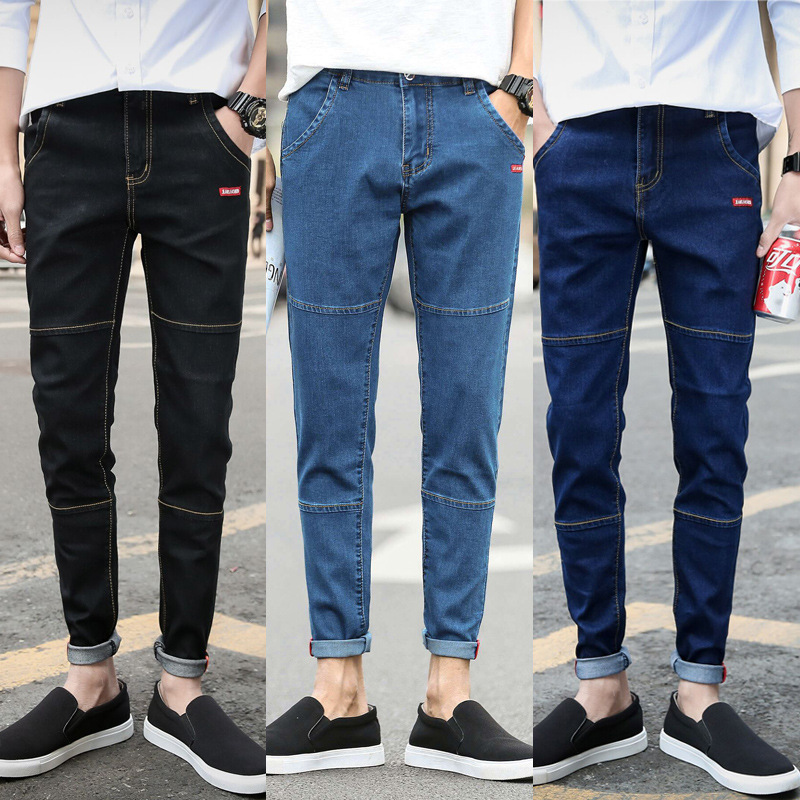 Four Seasons Paragraph 501 Men Capri Jeans Men's Teenager Korean-style Slim Models Elasticity Skinny Pants 9 Points Pants Fashio