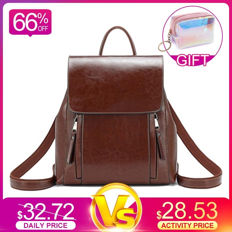 REALER Retro Women Backpack School Bags For Teenager Girls Leather School Backpack For Women Large Capacity Mochila Shoulder Bag