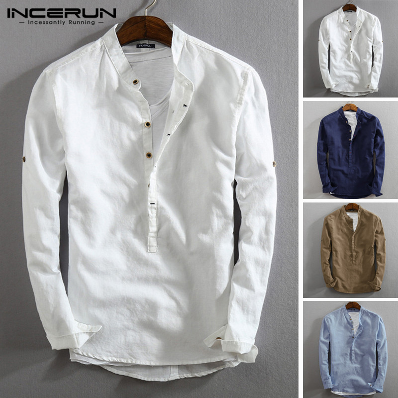 INCERUN Vintage Men Casual Shirt Cotton Linen Stand Collar 2020 Solid Color Tops Street Long Sleeve Henley Shirts Men Harajuku