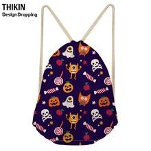 ThiKin 2019 Funny Halloween Skull Drawstring Bag for Boys Girls  Kids Backpacks Cartoon Draw String Women Backpack Sack Bolso