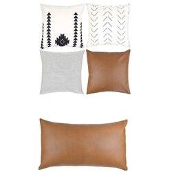 6 sztuk nowoczesny Design 100% Faux Leather jakości dekoracyjne rzuć poszewki na poduszki tylko na kanapie  Sofa lub łóżko-2 sztuk 12 cali X 20 I