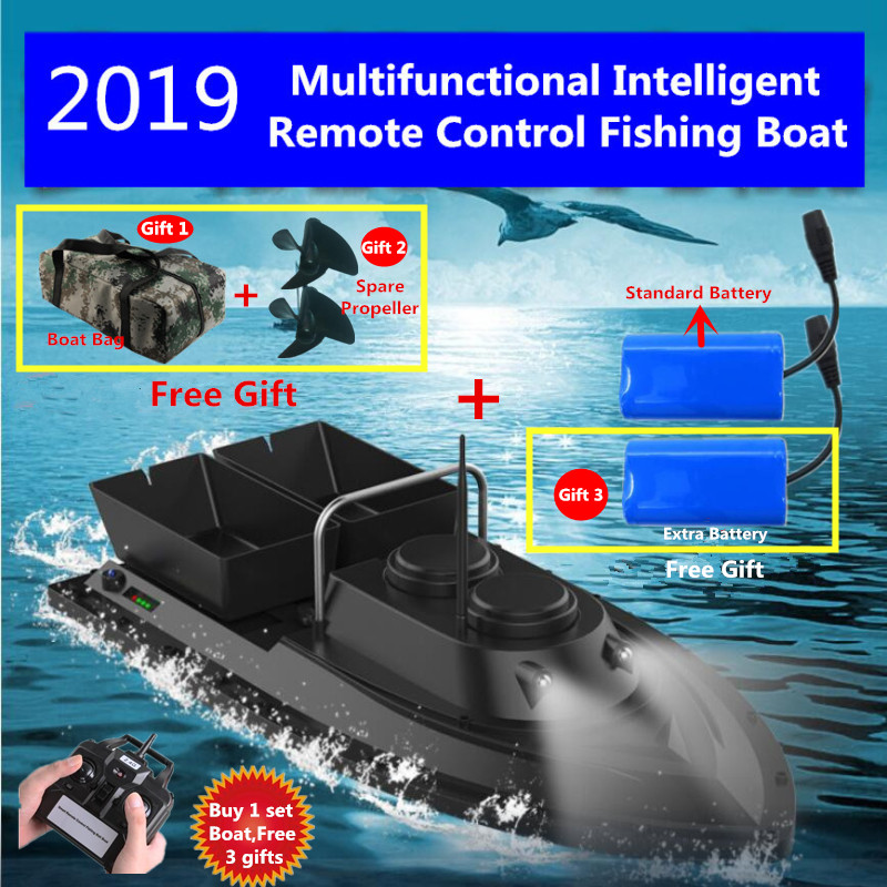 Double Hopper Night Light RC Fishing Gear Boat 1.5kg Loading 500M Remote Control Bait Boat Nesting Device RC Fishing Bait Ship