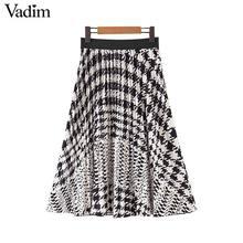 Vadim Женская винтажная юбка миди с гусиной лапой плиссированные юбки с эластичной талией Элегантная женская повседневная одежда Юбки До Колена BA751