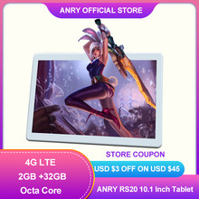 ANRY Neue Tablet Pc 10 Zoll Android 8,1 Tabletten Octa Core 2 + 32GB 3G/4G lte Anruf Spiel Phablet Dual Sim Wifi GPS Touch Tab
