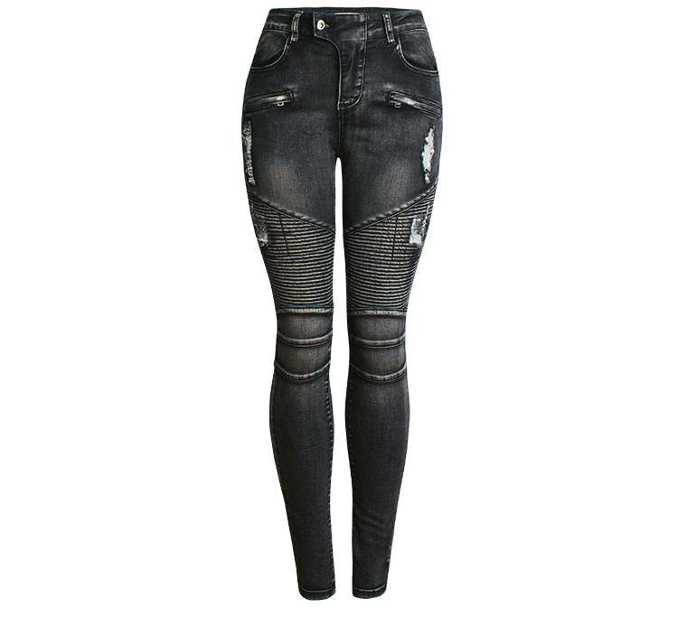 Women's Pants  2021 TOP High Waist  Stretch  Ripped  Skinny  Motorcycle  Jeans  Lady  Black Fashion  Bodycon Trousers