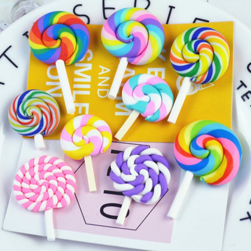 10pcs Lollipop Sweets Polymer Clay Handmade Flatback Charm Pendant Craft Decor