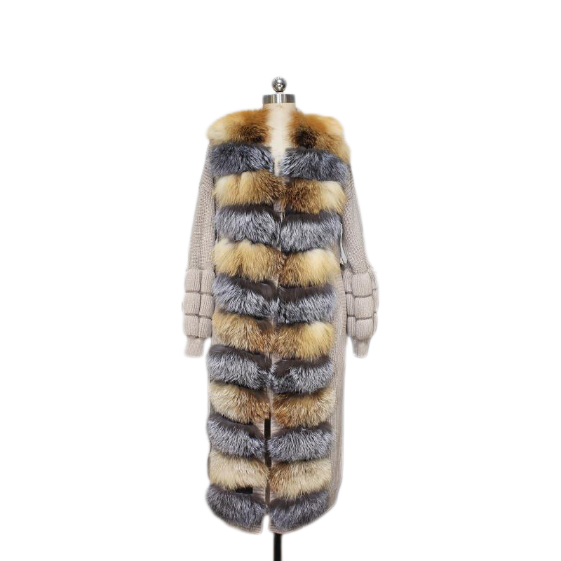 Winter Fox Fur Coat For Women Luxury Casual Elegant Warm Gray And Brown Horizontal Stripe Real Fox Fur Coats Female Plus Size