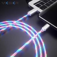 Cable brillante de carga para teléfono móvil, Cable de carga de iluminación LED Micro USB tipo C para iPhone 8 y Samsung