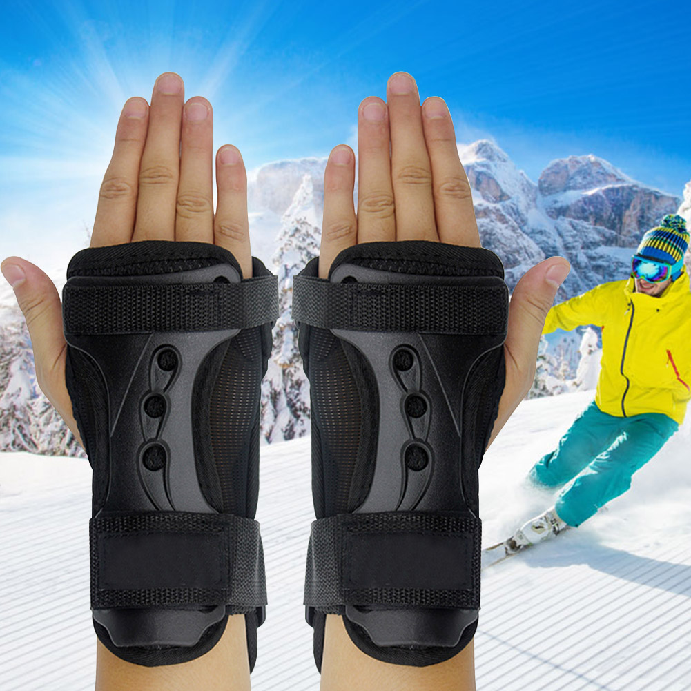 Wrapping Sports Black Breathable Protective Gear Brace Outdoor Adjustable Lightweight Wrist Support Roller Skating Gloves EVA
