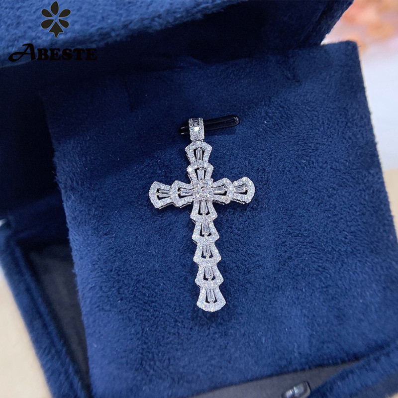 ANI 18K Solid White Gold Pendant Necklace Real Natural Diamond Fine Jewelry Women Engagement Necklace Birthday Gift Cross Shape