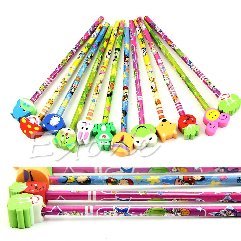 1-10X Cartoon Eraser Pencil School Party Bag Filler Kid Stocking Toy Prize Gift