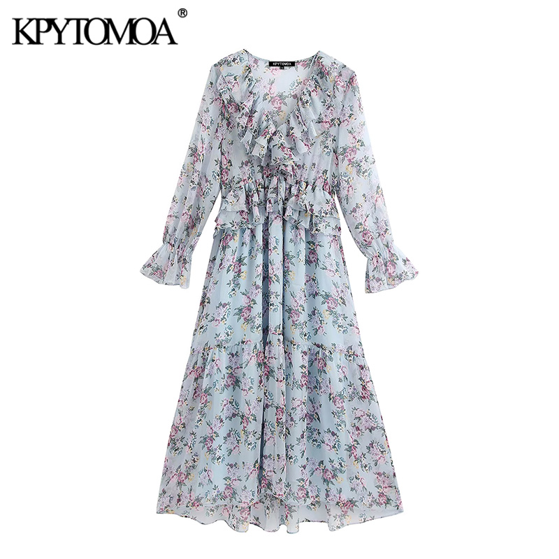 KPYTOMOA Women 2020 Chic Fashion Floral Print Ruffled Midi Dress Vintage Long Sleeve See Through Female Dresses Vestidos Mujer