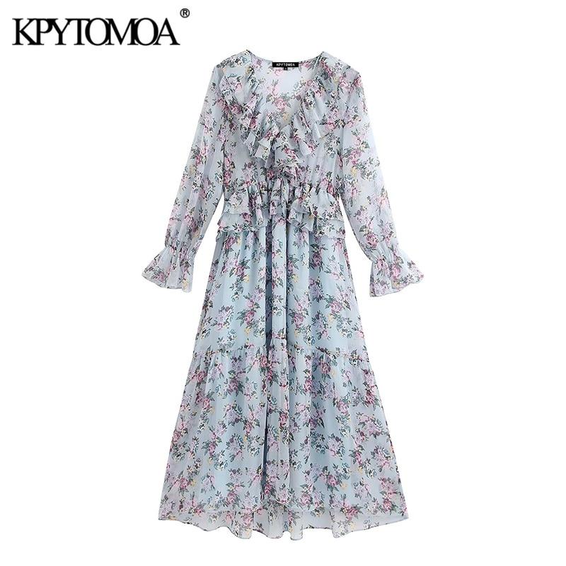 KPYTOMOA Women 2020 Chic Fashion Floral Print Ruffled Midi Dress Vintage Long Sleeve See Through Female Dresses Vestidos Mujer