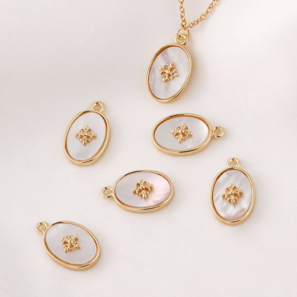 2PCS Natural Shell Oval Necklace Pendant High Quality Charms for Jewelry Making DIY Earrings Findings Gold Plated Accessories
