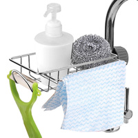 Rejilla para escurrir para fregadero de acero inoxidable, almacenamiento de esponja, soporte para grifo de cocina, bandeja escurridor de jabón, cesta organizadora, accesorios de baño