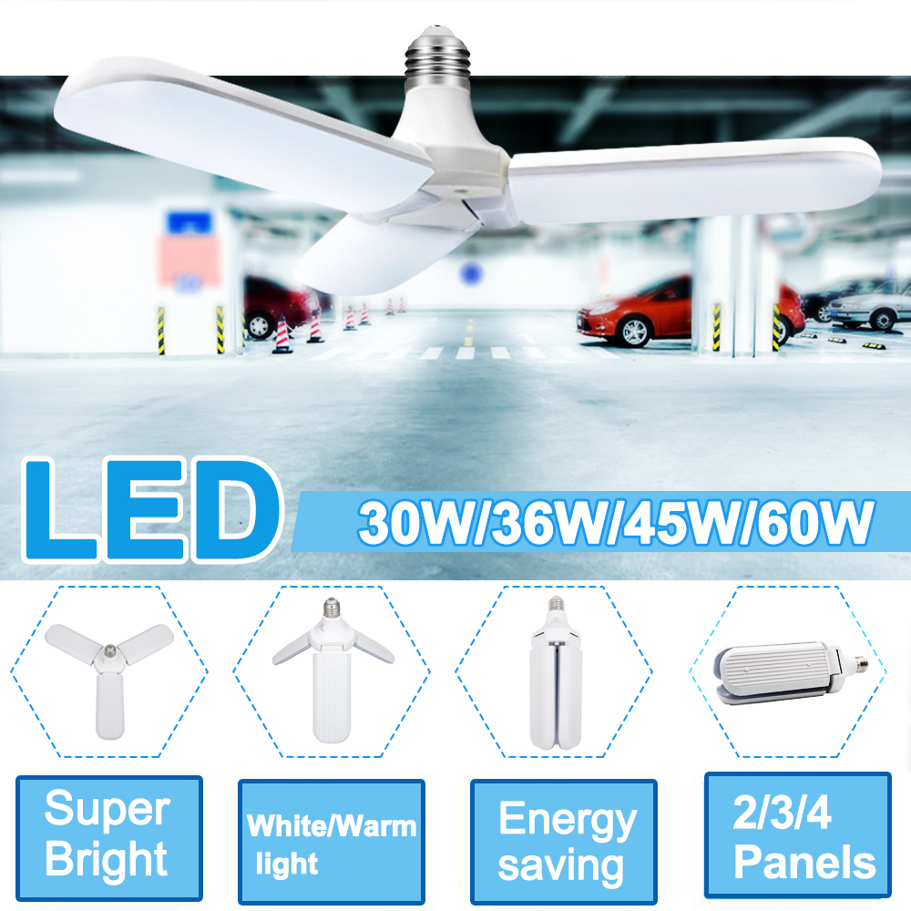 Super Bright Foldable Led Garage Light Industrial Lighting 60W E27 6000LM 85-265V 2835 Led High Bay Industrial Lamp For Workshop