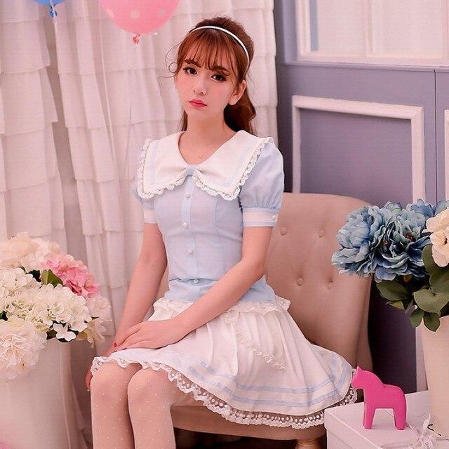 Princesse douce lolita blouse bonbons pluie style japonais été mignon collège style noeud col en mousseline de soie blouse (pas de jupe) C15AB5673