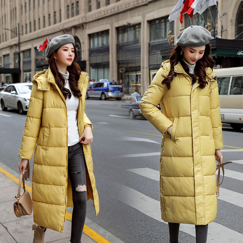 Cross Border 2019 New Style Down Cotton Mid-length Large Size Dress Slim Fit Slimming Cotton Coat Thick Warm Cotton-padded Jacke
