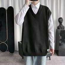 2020 мужской однотонный пуловер без рукавов шерстяной свитер
