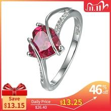 خاتم على شكل قلب من الفضة الإسترليني 925 على شكل قلب من روبي 2.5 قيراط خاتم الحب للسيدات لحفلات الزفاف والمشاركة هدية رومانسية