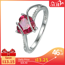 Heart Shape Ruby 925 Sterling Silver Ring 2.5 Carats Women Love Ring for Party Wedding and Engagement Romantic Gift