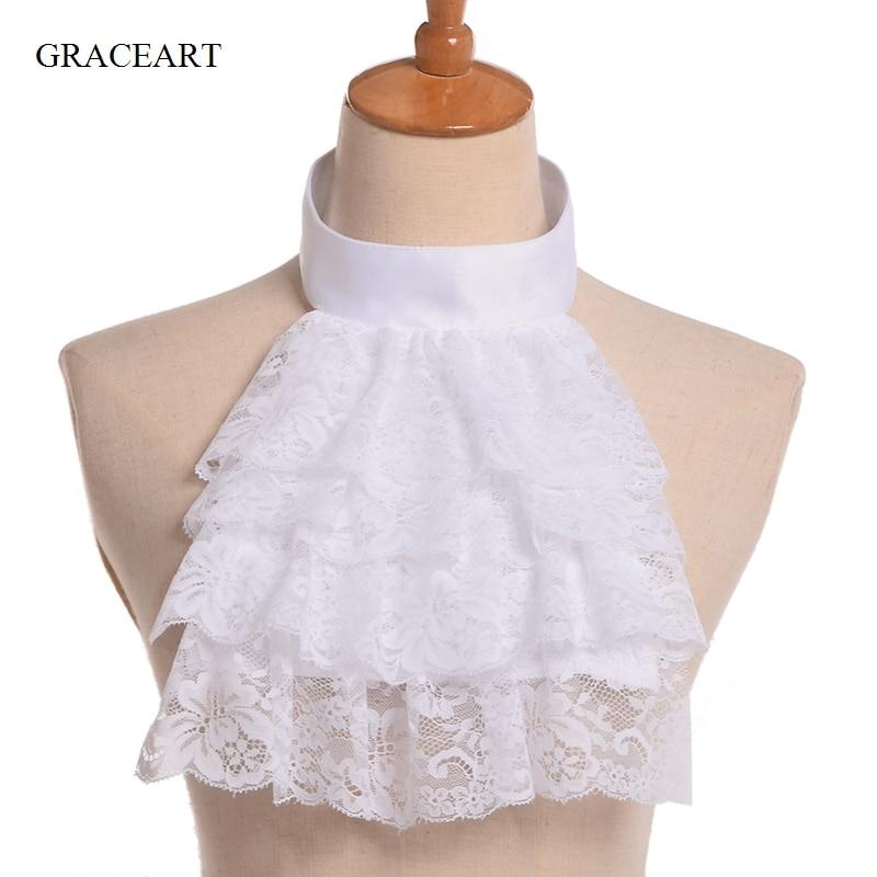 Retro Victorian Detachable Collar Ruffled Collar White Neck Ruff Costume Collar