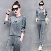 women sportswear winter thick velvet sport suit letter print sweater sweatshirt+pant running jogger casual fitness set tracksuit